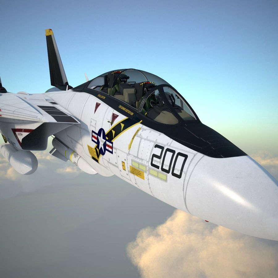 F-14A Tomcat VF-84 Jolly Rogers 1977 royalty-free 3d model - Preview no. 6