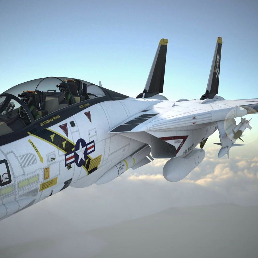 F-14A Tomcat VF-84 Jolly Rogers 1977 royalty-free 3d model - Preview no. 9