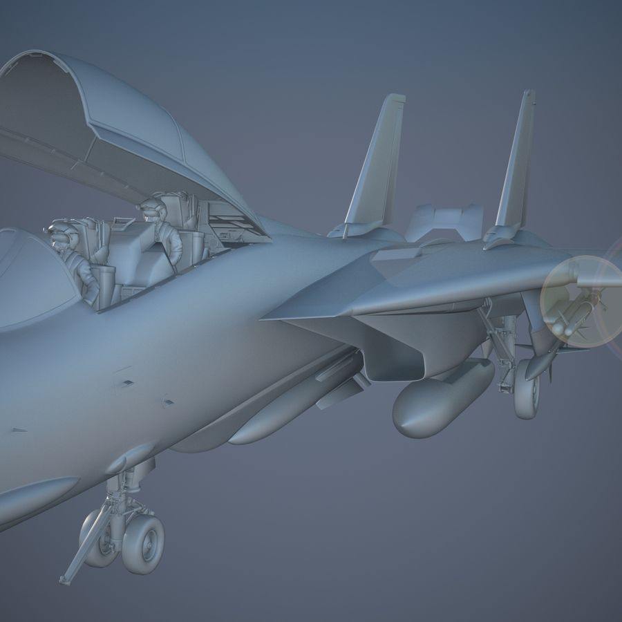 F-14A Tomcat VF-84 Jolly Rogers 1977 royalty-free 3d model - Preview no. 24
