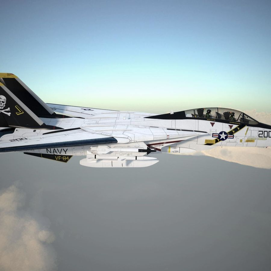 F-14A Tomcat VF-84 Jolly Rogers 1977 royalty-free 3d model - Preview no. 5
