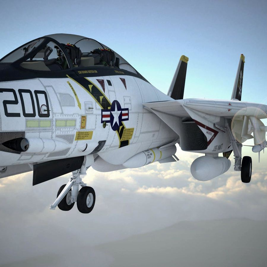 F-14A Tomcat VF-84 Jolly Rogers 1977 royalty-free 3d model - Preview no. 17