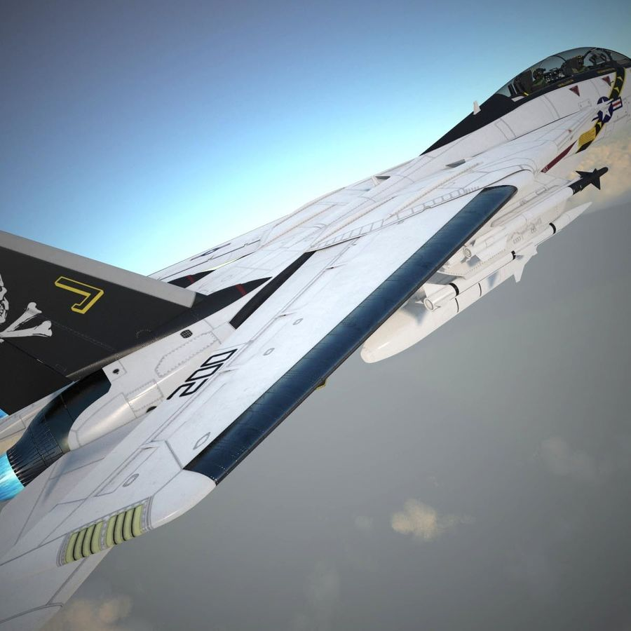 F-14A Tomcat VF-84 Jolly Rogers 1977 royalty-free 3d model - Preview no. 33
