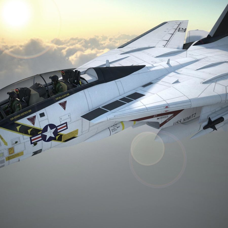 F-14A Tomcat VF-84 Jolly Rogers 1977 royalty-free 3d model - Preview no. 7