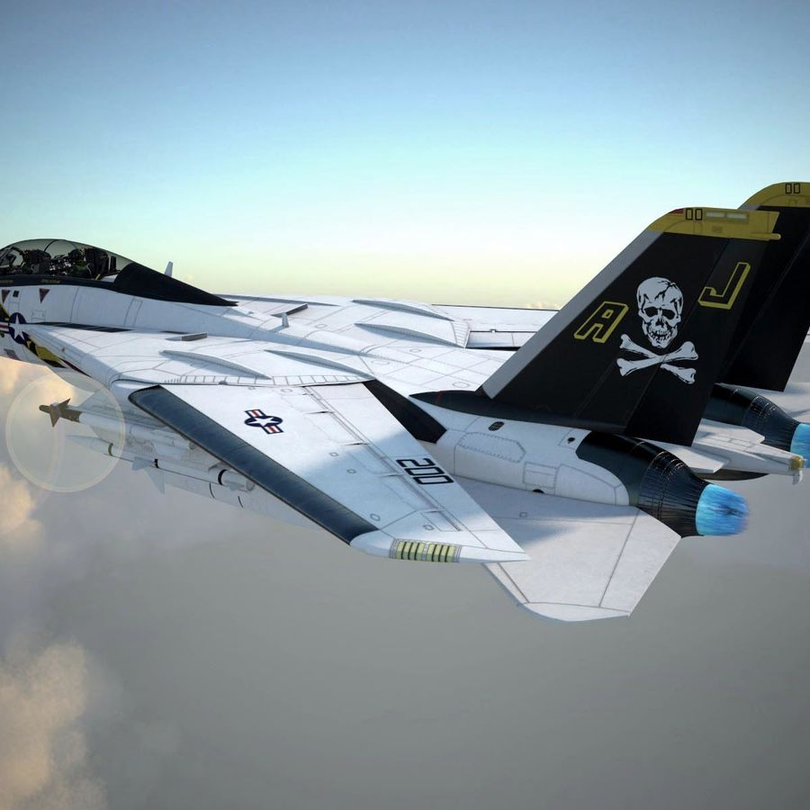 F-14A Tomcat VF-84 Jolly Rogers 1977 royalty-free 3d model - Preview no. 10