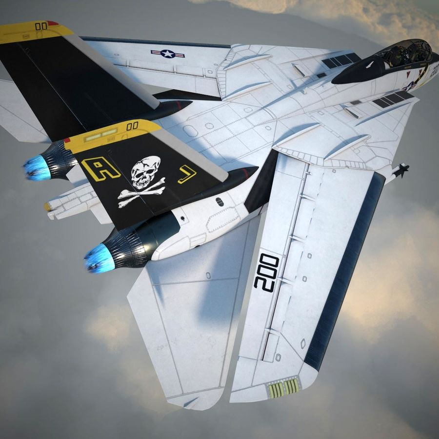 F-14A Tomcat VF-84 Jolly Rogers 1977 royalty-free 3d model - Preview no. 32