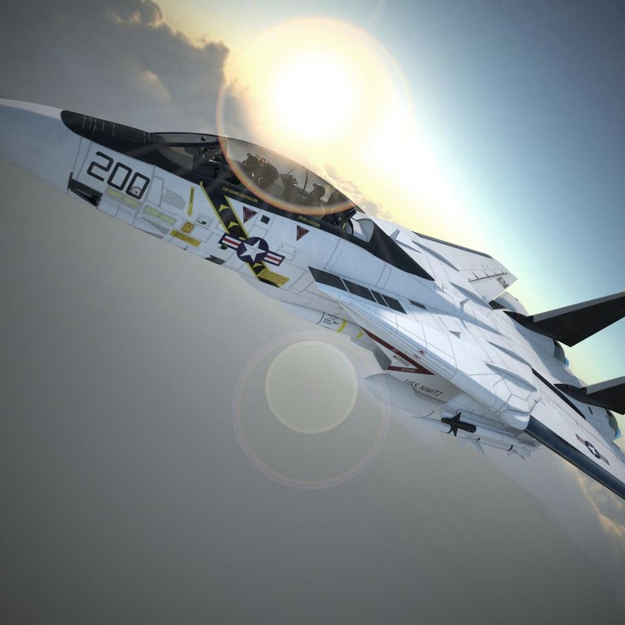 F-14A Tomcat VF-84 Jolly Rogers 1977 royalty-free 3d model - Preview no. 35