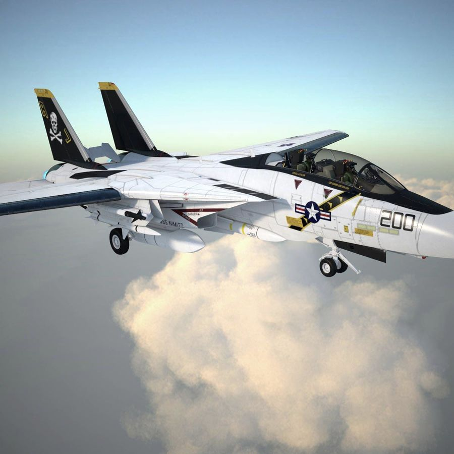 F-14A Tomcat VF-84 Jolly Rogers 1977 royalty-free 3d model - Preview no. 14