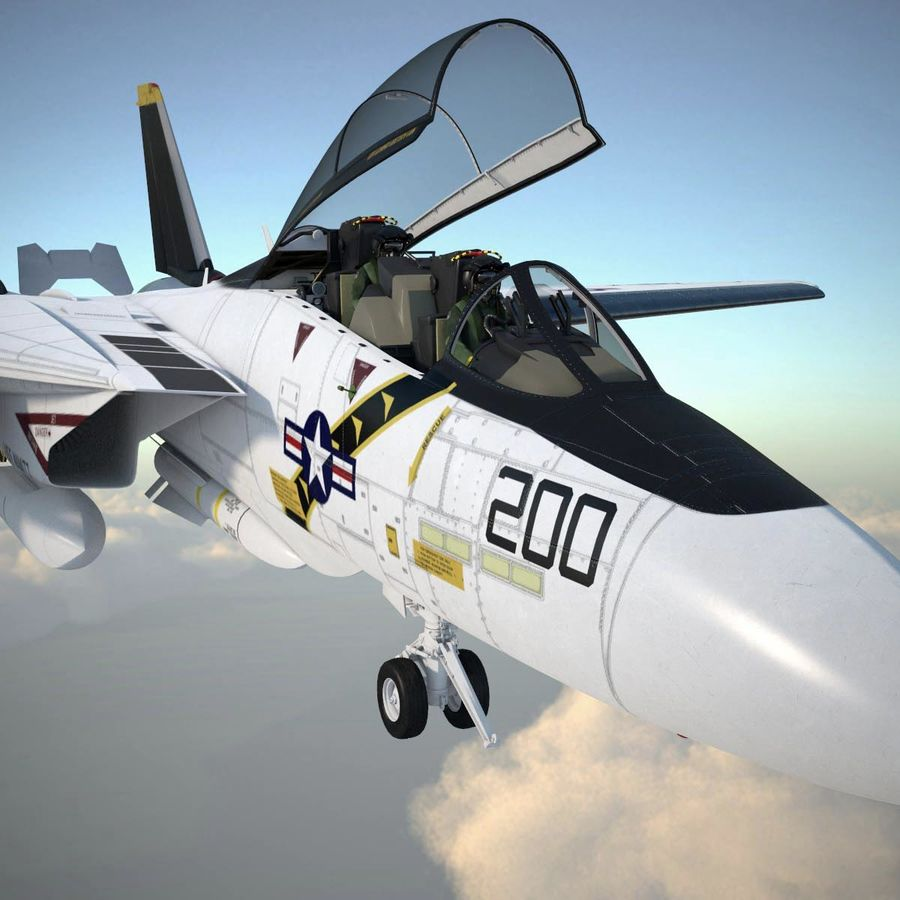 F-14A Tomcat VF-84 Jolly Rogers 1977 royalty-free 3d model - Preview no. 19