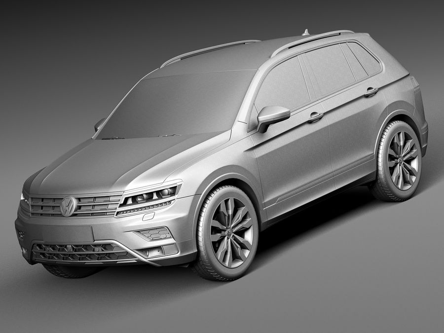 Volkswagen Tiguan 2017 royalty-free 3d model - Preview no. 9