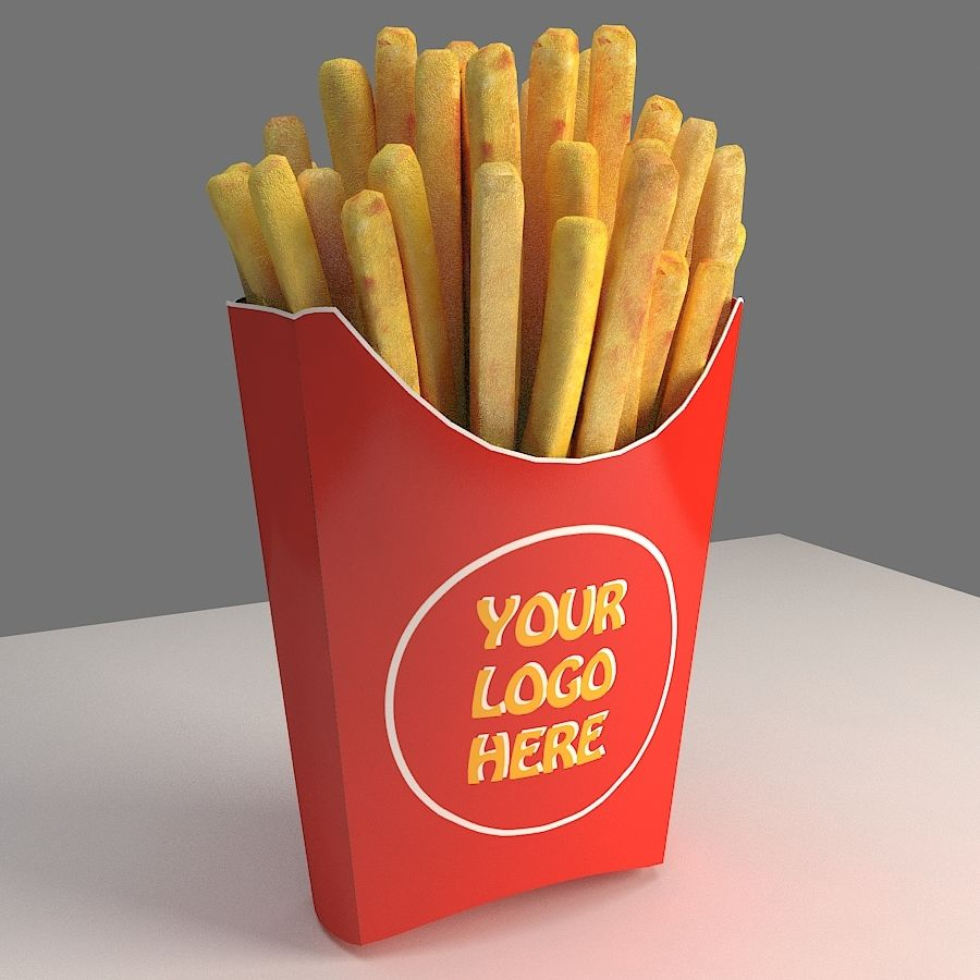 Patatine fritte royalty-free 3d model - Preview no. 2