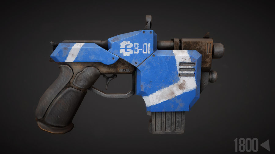 Sci-fi Pistol royalty-free 3d model - Preview no. 1