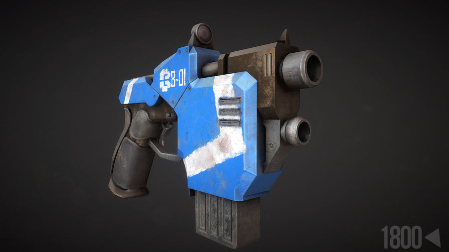 Sci-fi Pistol royalty-free 3d model - Preview no. 2