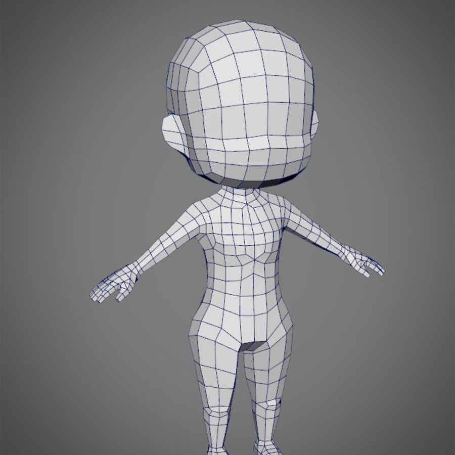 Female SD Character Base Low Poly Model royalty-free 3d model - Preview no. 1