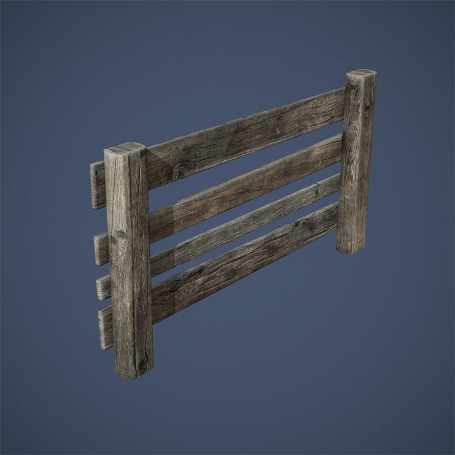 Low Poly Fence royalty-free 3d model - Preview no. 7