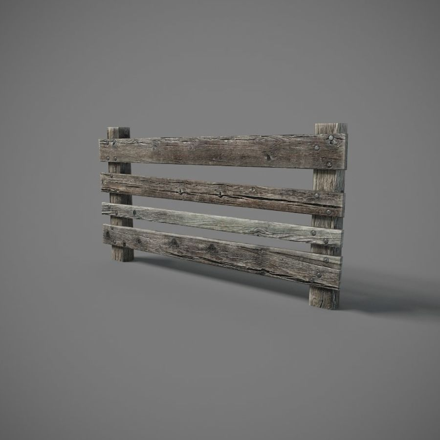 Low Poly Fence royalty-free 3d model - Preview no. 2