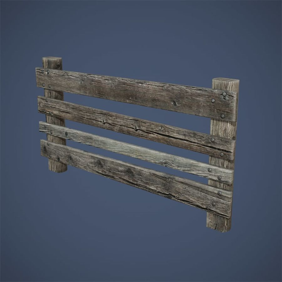 Low Poly Fence royalty-free 3d model - Preview no. 6