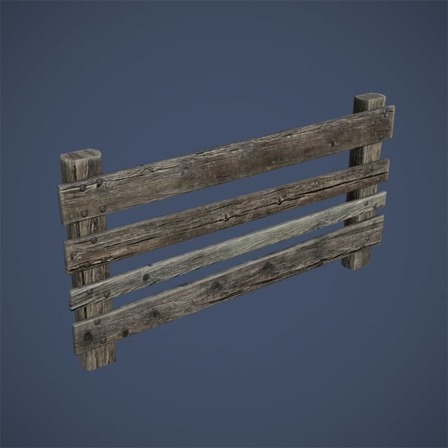 Low Poly Fence royalty-free 3d model - Preview no. 5