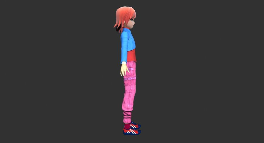 Anime Girl royalty-free 3d model - Preview no. 4