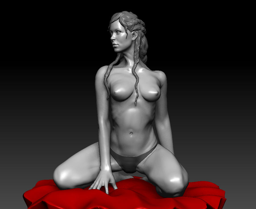 Sexy geposeerde vrouw (2) royalty-free 3d model - Preview no. 3