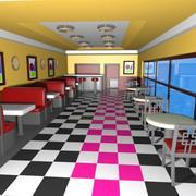 Cartoon Burger Restaurant Interior 3d model