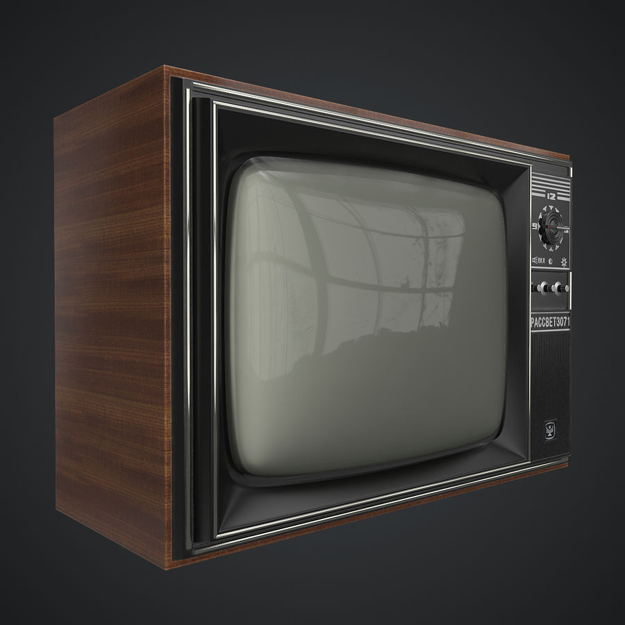 Old Soviet TV royalty-free 3d model - Preview no. 2