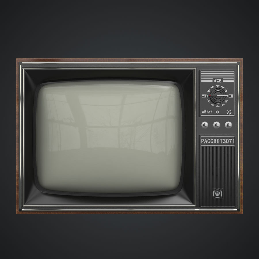 Old Soviet TV royalty-free 3d model - Preview no. 3