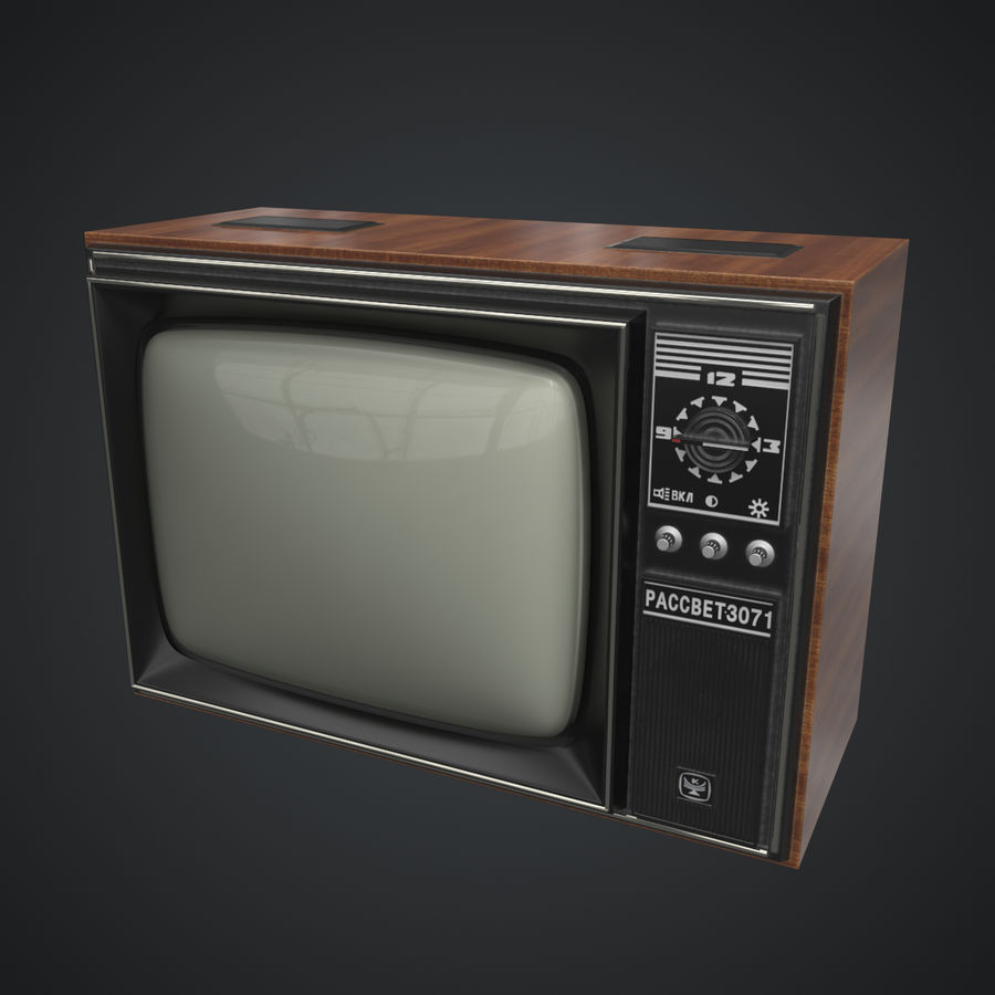 Old Soviet TV royalty-free 3d model - Preview no. 4