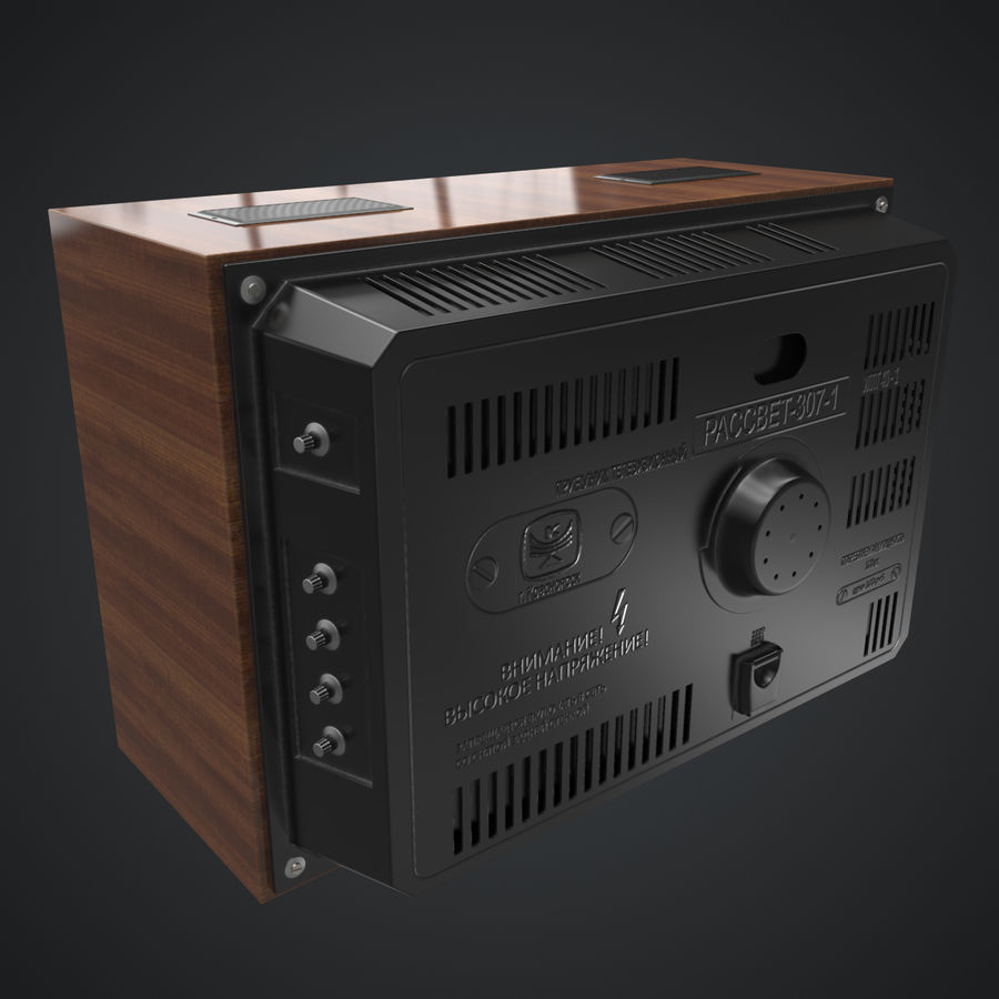 Old Soviet TV royalty-free 3d model - Preview no. 6