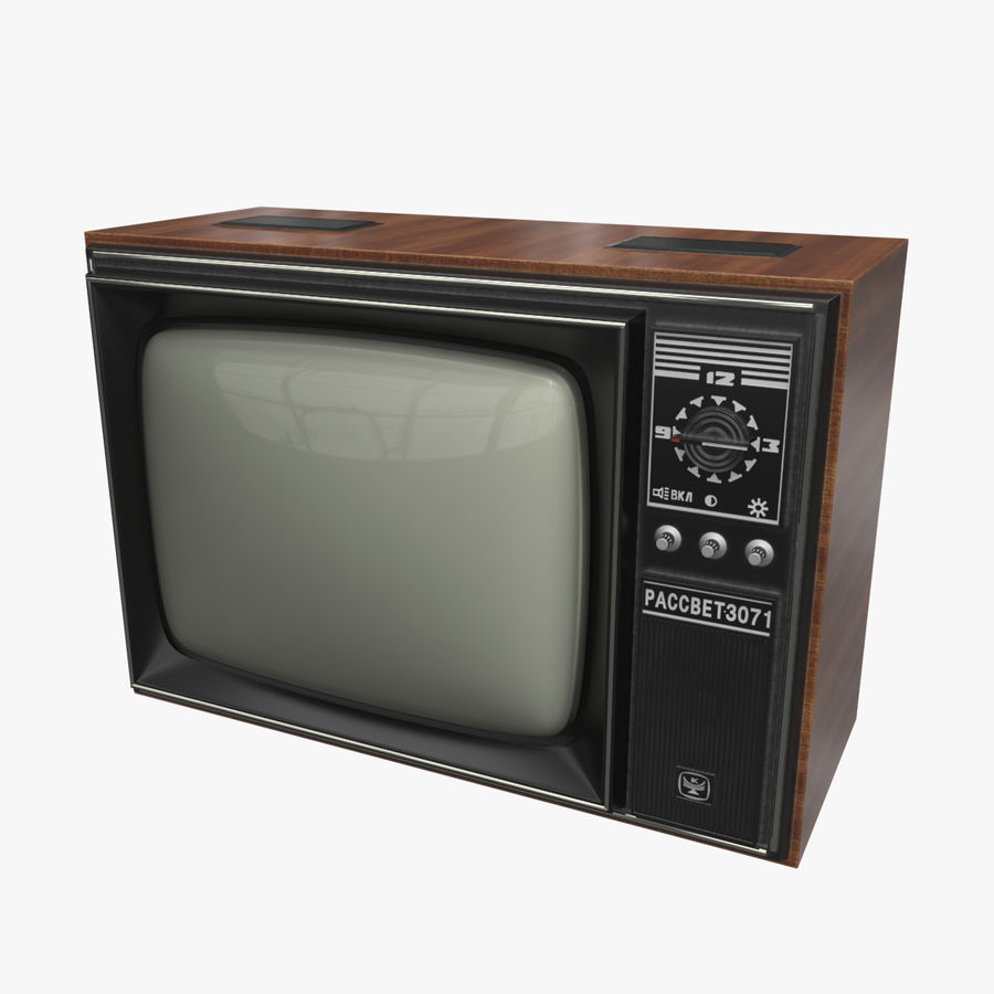 Old Soviet TV royalty-free 3d model - Preview no. 1