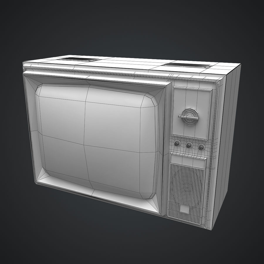 Old Soviet TV royalty-free 3d model - Preview no. 9