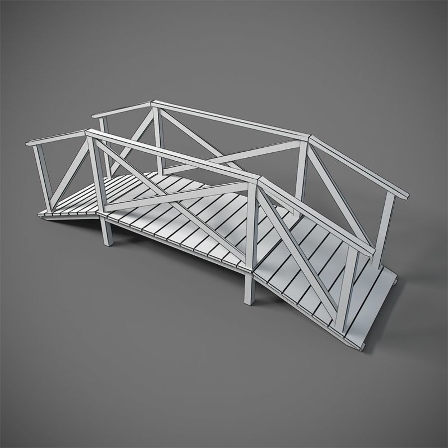 Wooden Bridge royalty-free 3d model - Preview no. 4