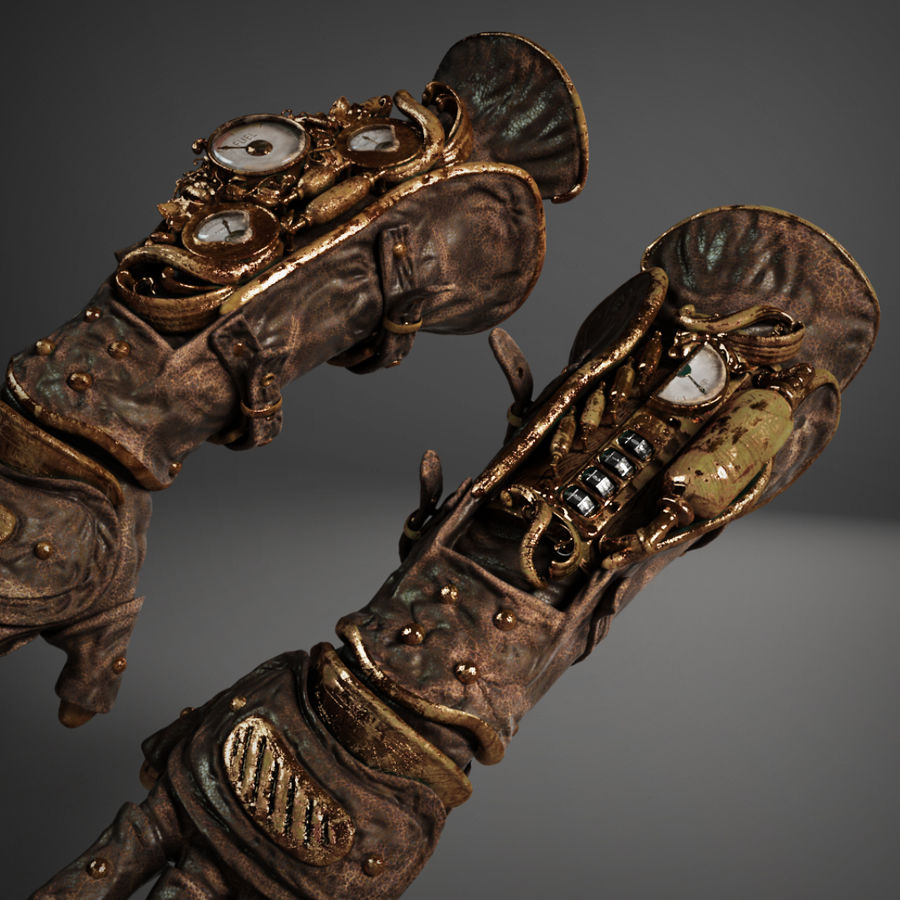 gloves royalty-free 3d model - Preview no. 9
