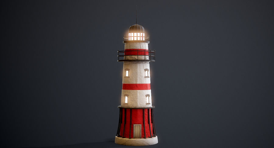 Lighthouse Low Poly royalty-free 3d model - Preview no. 6