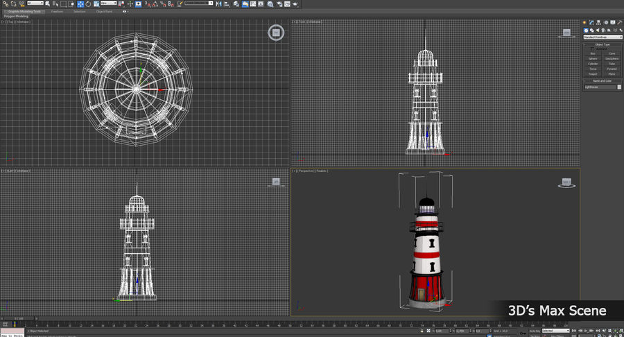 Lighthouse Low Poly royalty-free 3d model - Preview no. 14
