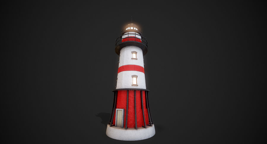Lighthouse Low Poly royalty-free 3d model - Preview no. 7