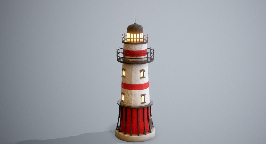 Lighthouse Low Poly royalty-free 3d model - Preview no. 3