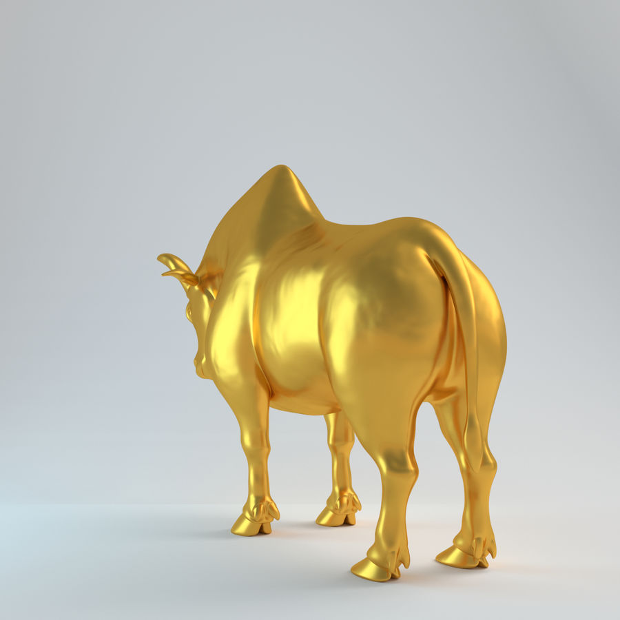 Gold Bull V1 royalty-free 3d model - Preview no. 4