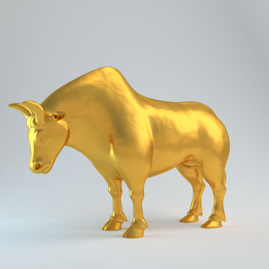 Gold Bull V1 royalty-free 3d model - Preview no. 2