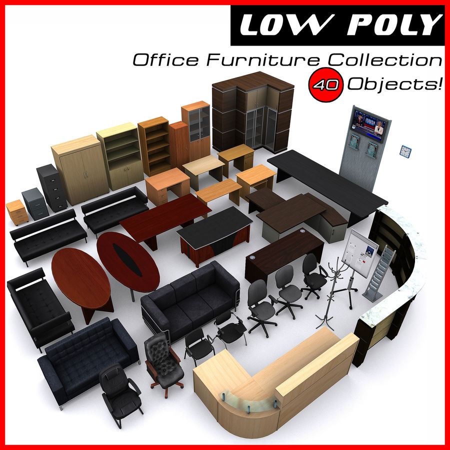 Colección de muebles de oficina royalty-free modelo 3d - Preview no. 1