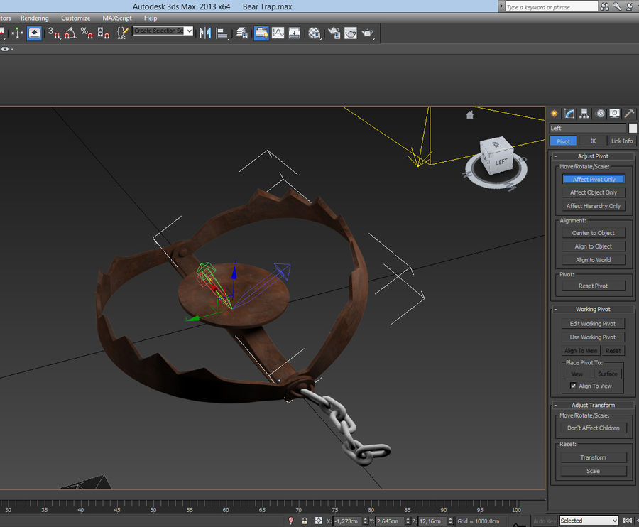 Rusty Bear Trap royalty-free 3d model - Preview no. 9