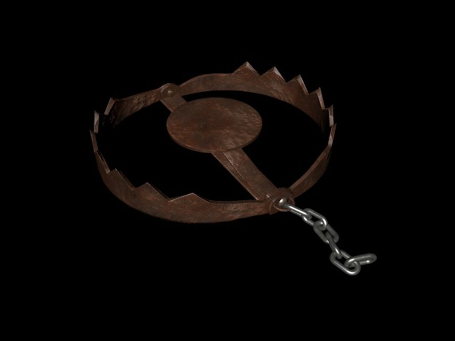Rusty Bear Trap royalty-free 3d model - Preview no. 10