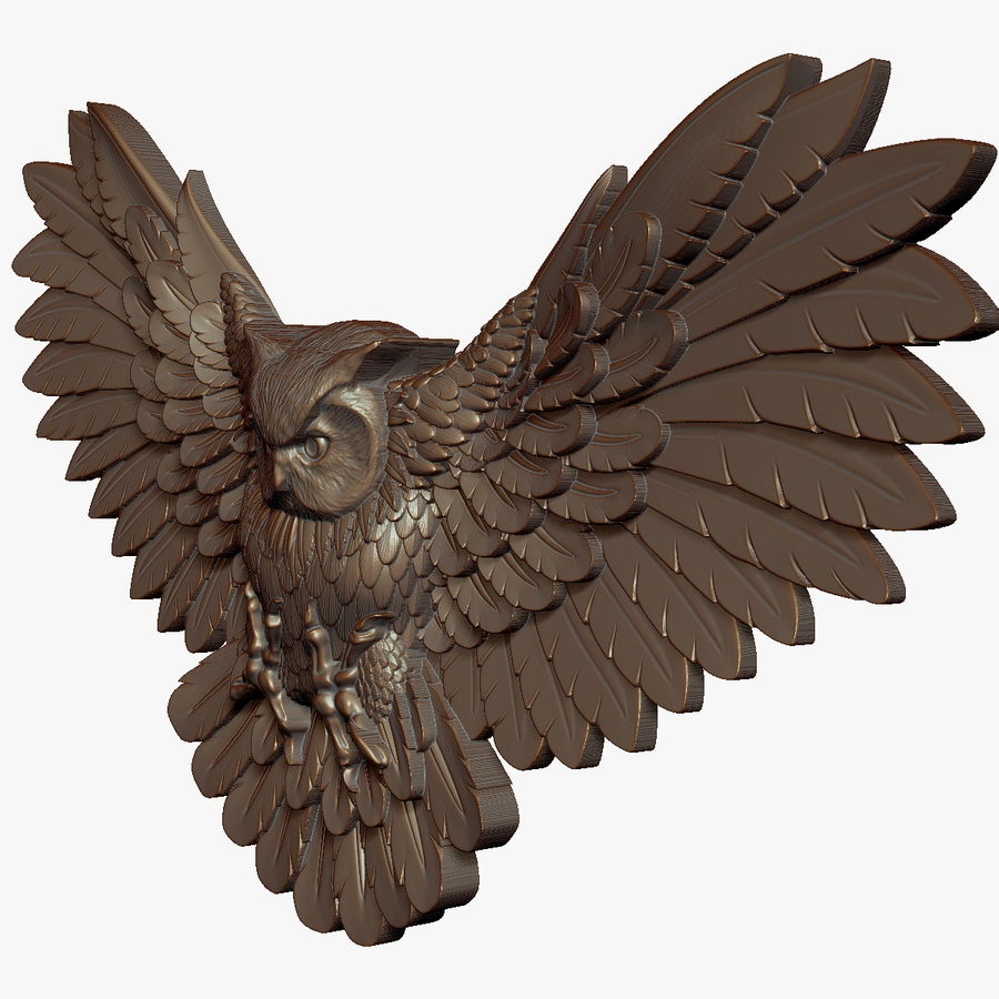 Owl relief for CNC royalty-free 3d model - Preview no. 6