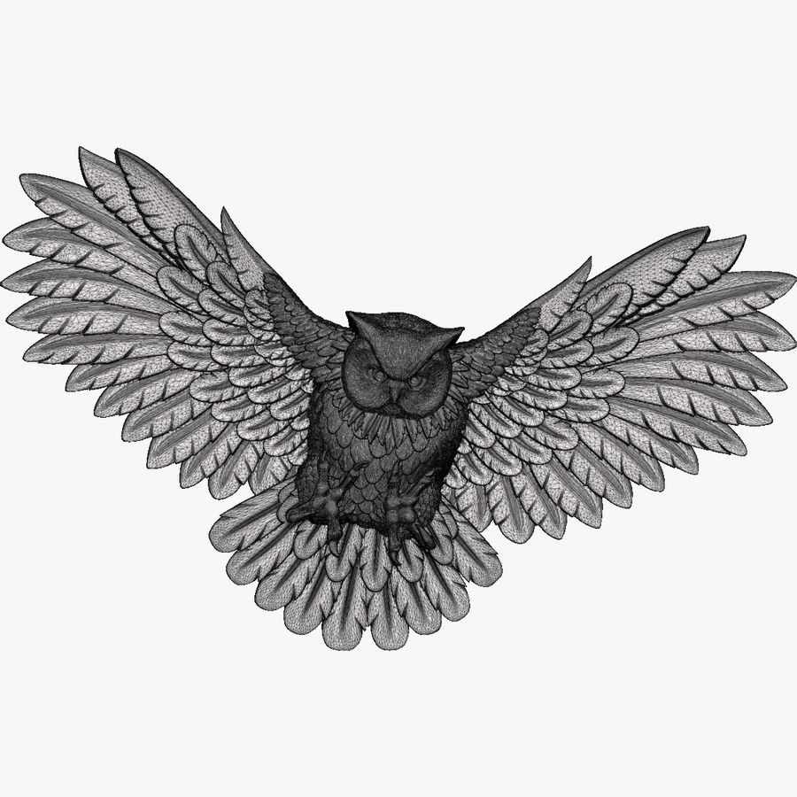 Owl relief for CNC royalty-free 3d model - Preview no. 8