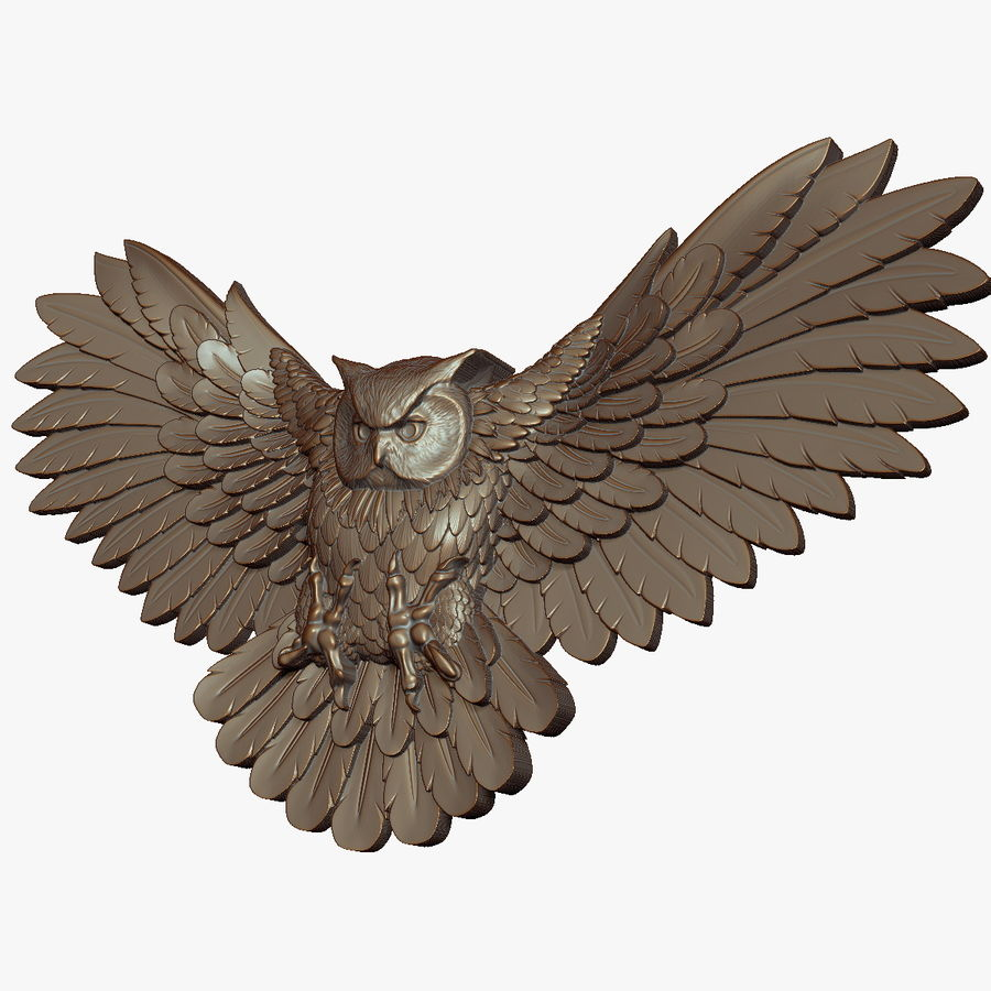 Owl relief for CNC royalty-free 3d model - Preview no. 4