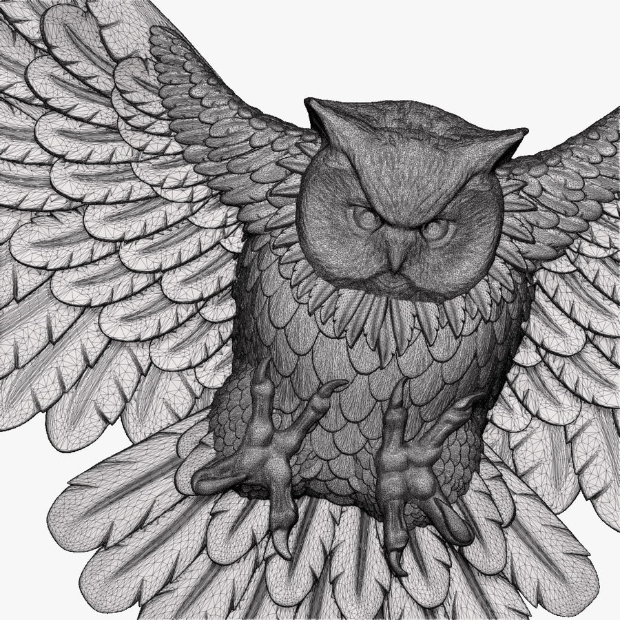 Owl relief for CNC royalty-free 3d model - Preview no. 9