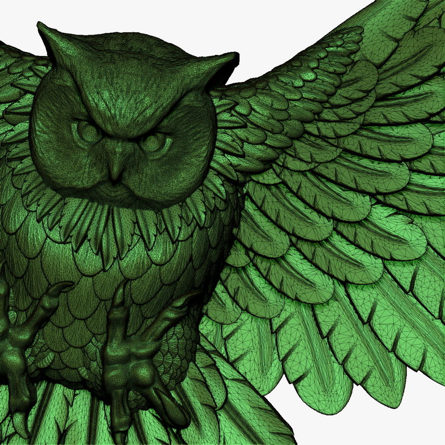 Owl relief for CNC royalty-free 3d model - Preview no. 7