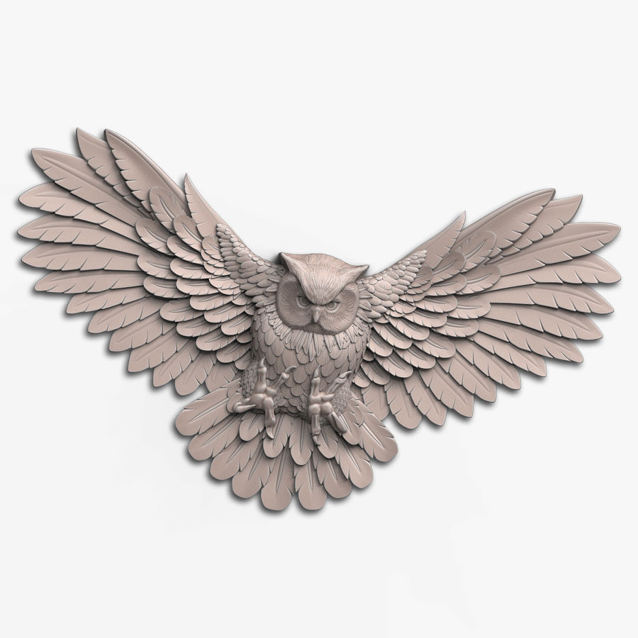 Owl relief for CNC royalty-free 3d model - Preview no. 1