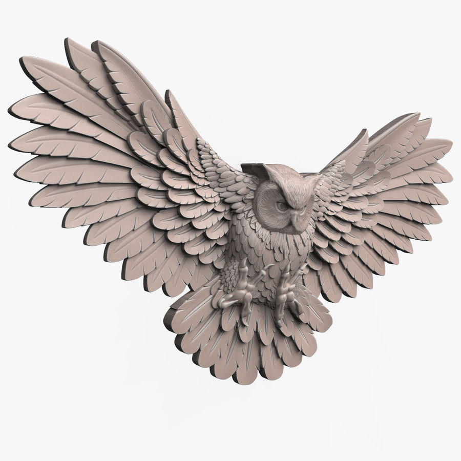 Owl relief for CNC royalty-free 3d model - Preview no. 2