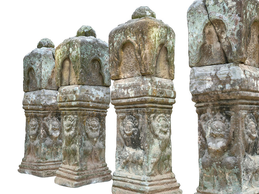 Starożytna kolumna Kambodża 8K royalty-free 3d model - Preview no. 7