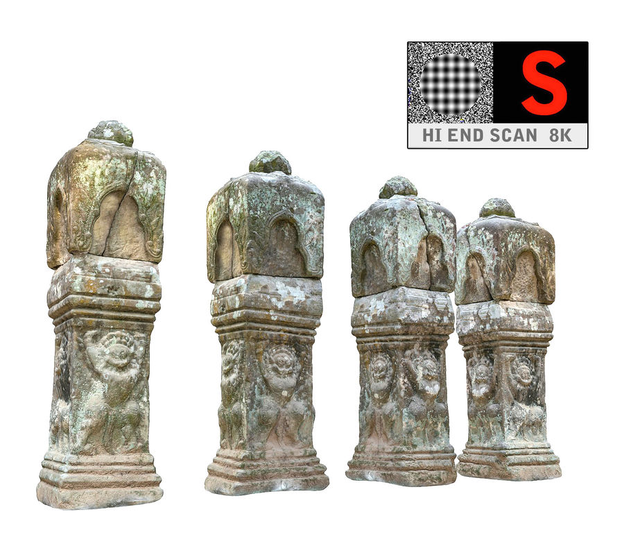 Starożytna kolumna Kambodża 8K royalty-free 3d model - Preview no. 1